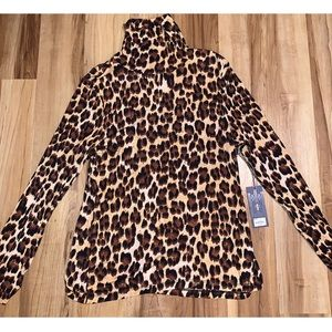 JLO XL NWT cheetah print light turtleneck